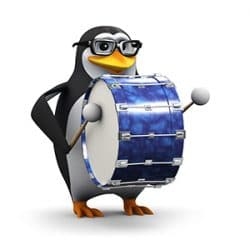 Penguin in glasses plays a big bass drum