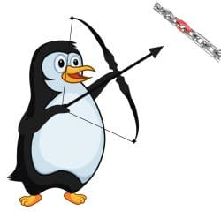 Penguin with a bow and arrow shooting at a chain