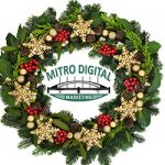 Christmas wreath with stars and Mitro Digital Marketing logo in the midle.